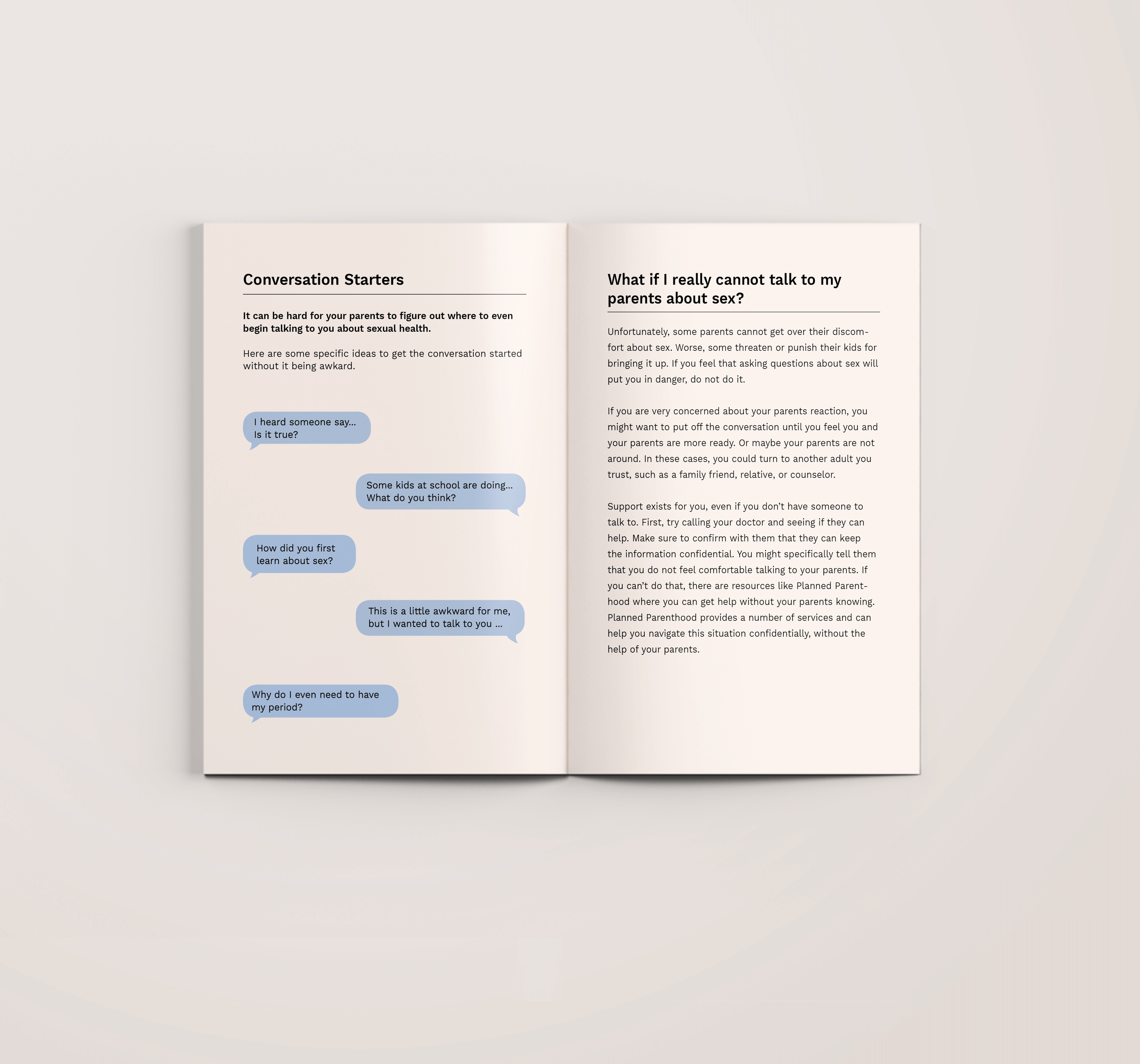 Interior of the guidebook created for The Talk